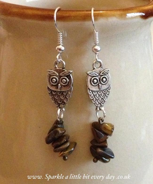 Owl earrings with semi precious stones.