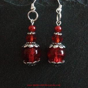 Red drop earrings.
