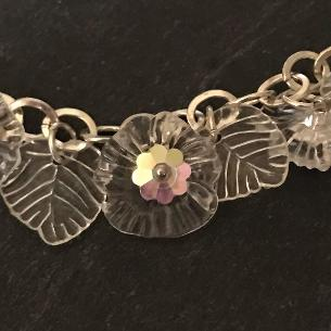 Close up view of clear flowers on the bracelet..