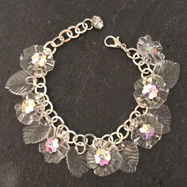 Clear flowers child's bracelet.