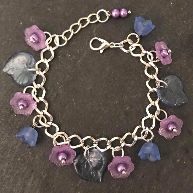 Purple and blue flowers child's bracelet.
