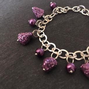 Close up view of purple glitter bracelet..