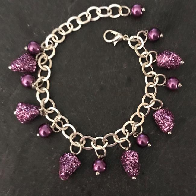 Purple glitter child's bracelet.