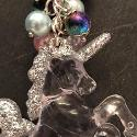 Silver unicorn bag charm